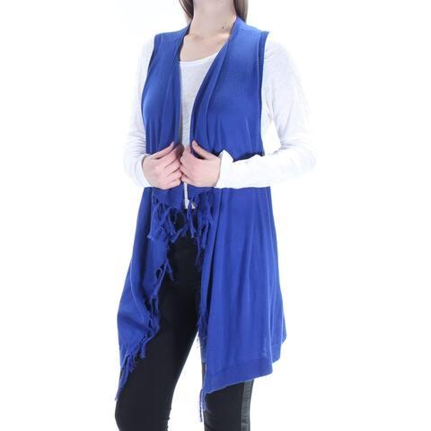 BASS Womens Blue Pleated Fringed Sleeveless Open Sweater Size M
