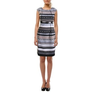 Connected Apparel Womens Petites Wear to Work Dress Printed Cap Sleeves