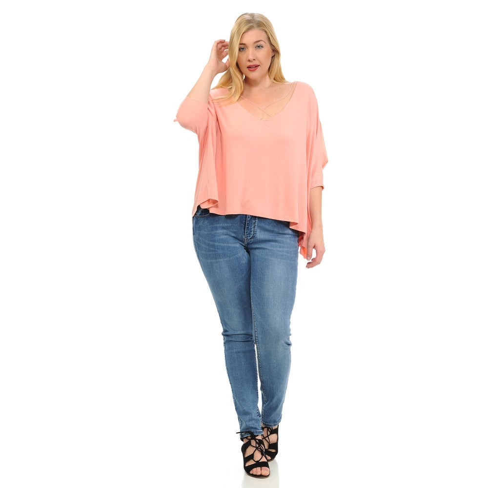 Diamante Fashion Women\'s Top - Plus Size - Short Sleeve - V-neck - Style  D187-P - Color - Peach - Size - Small
