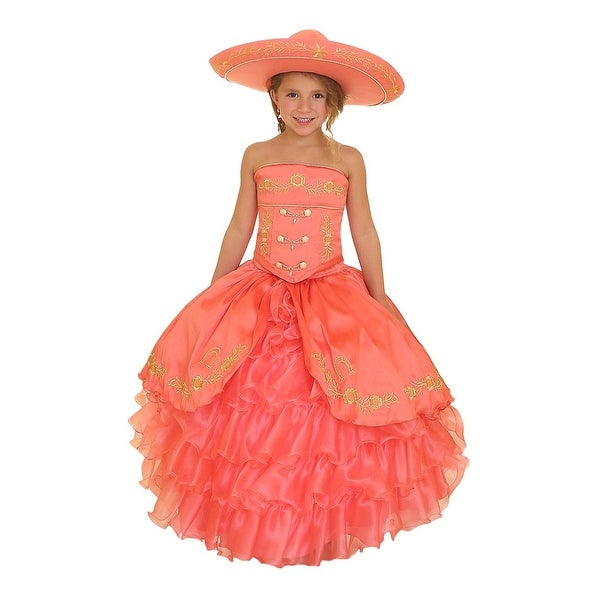 39fff909d9c1 Shop Girls Coral Gold Ruffles Embroidery Bolero Hat Mariachi Dress ...