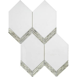 """Emser Tile W94INTRM1115MPK  Intrigue - 10-11/16"""" x 14-9/16"""" Deco Floor and Wall Mosaic Tile - Varied Marble Visual - Mirror"""