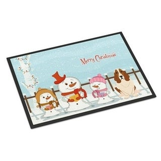 Carolines Treasures BB2352JMAT Merry Christmas Carolers Basset Hound Indoor or Outdoor Mat 24 x 0.25 x 36 in.