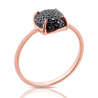 Fabulous 0.24 Carat Round Brilliant Cut Black Diamond Puffed Dome Cluster Ring