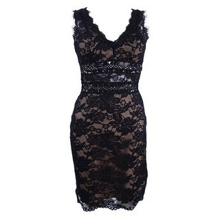 Xscape Women's V-Neck Floral Lace Cutout Sheath Dress - Black