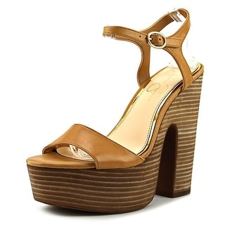 Jessica Simpson Whirl Women  Open Toe Leather Brown Platform Heel