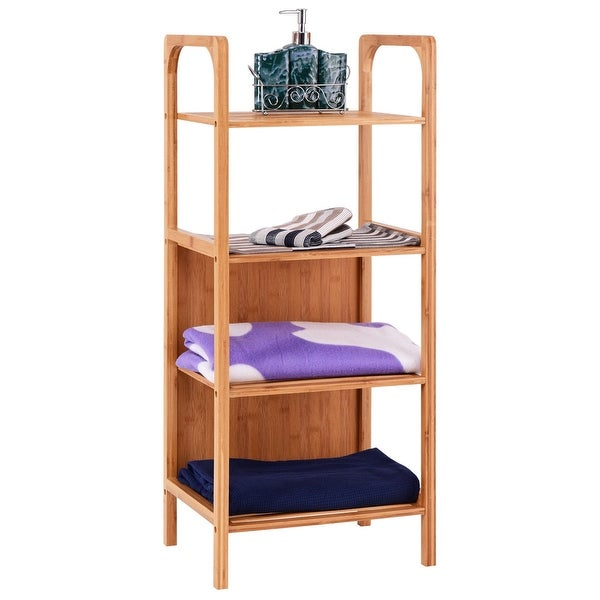 shop costway 4 tier bamboo bathroom shelf storage unit tower rack plants stand multifunction. Black Bedroom Furniture Sets. Home Design Ideas