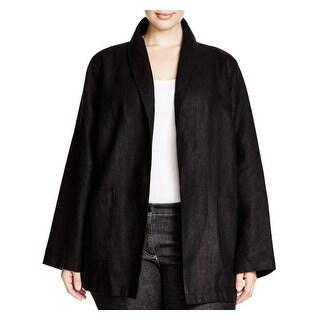 Eileen Fisher Womens Plus Basic Jacket Linen Shawl Lapel