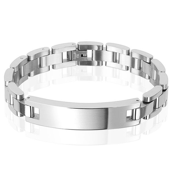 12mm Classic Chain with ID Plate Stainless Steel Bracelet (12 mm) - 8.75 in