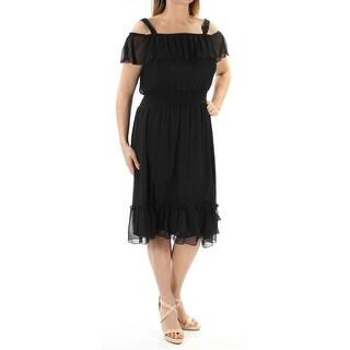 Womens Black Short Sleeve Below The Knee Peasant Evening Dress Size: 14