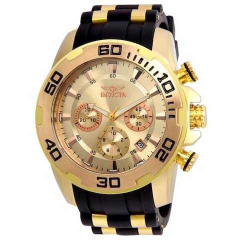 Invicta Men's Pro Diver 22342 Gold Silicone Quartz Diving Watch