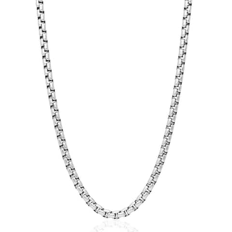 .925 Solid Sterling Silver 3.5MM Round Box Link .925 Rhodium Necklace Chain, Silver Chain for Men & Women, Made In Italy