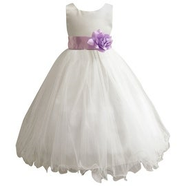 Wedding Easter Flower Girl Dress Wallao Ivory Rattail Satin Tulle (Baby - 14) Lilac Purple