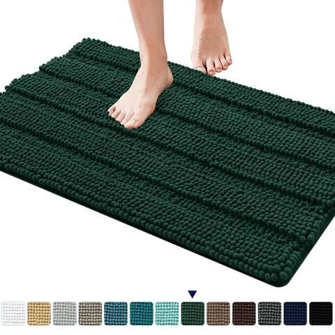 Subrtex Non-Slip Bathroom Rugs Chenille Soft Striped Plush Bath Mat
