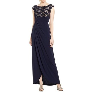 Connected Apparel Womens Evening Dress Gathered Lace Top