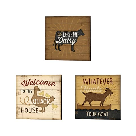 Jennifer Pugh 'Legend Dairy, Quack House & Floats Your Goat' Canvas Art (Set of 3)