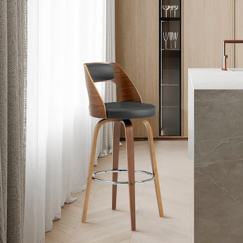 Axel Swivel Bar Stool in Faux Leather and Walnut Wood