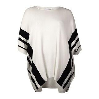 Calvin Klein Women's Knitted Stripe Poncho Sweater - Soft White - L/XL