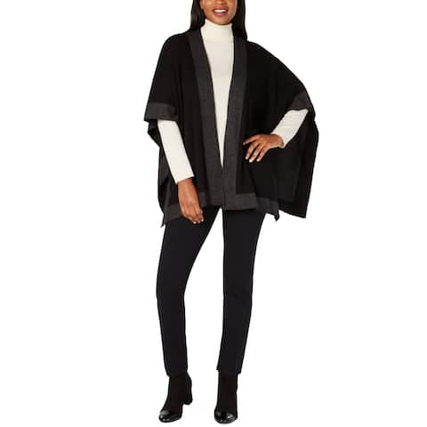 Charter Club Women's Soft Solid Knit Reversible Poncho, Black