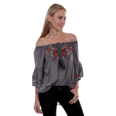 Scully Western Shirt Womens 3/4 Sleeve Rope Tie Neck Tunic - Charcoal