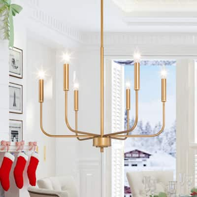 Mid-century Modern Gold 6-light Candle Pendant Chandelier