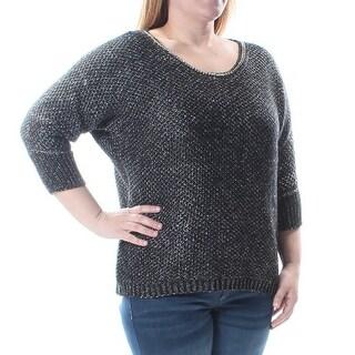 Womens Black Dolman Sleeve Jewel Neck Casual Sweater Size XL