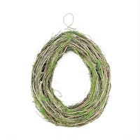 "15.5"" Brown Grapevine, Twig and Green Moss Egg-Shaped Artificial Spring Wreath"