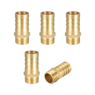 """Brass Barb Hose Fitting Connector Adapter 16mm Barbed x 3/8"""" G Male Pipe 5pcs - 3/8"""" G x 16mm"""