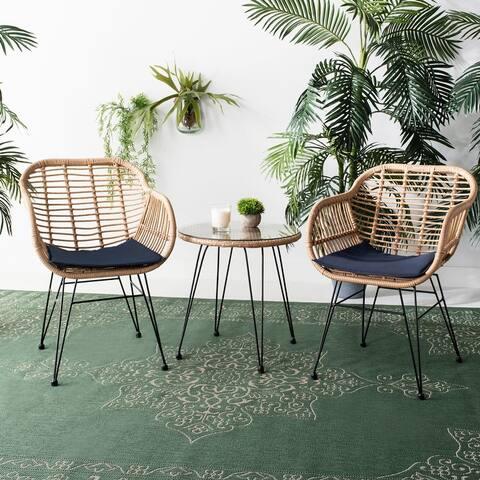 Safavieh Outdoor Living Alton 3Pc Lounge Set -Brown/Navy