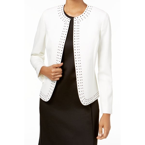 Kasper White Womens Size 14 Rhinestone Studded Flyaway Jacket
