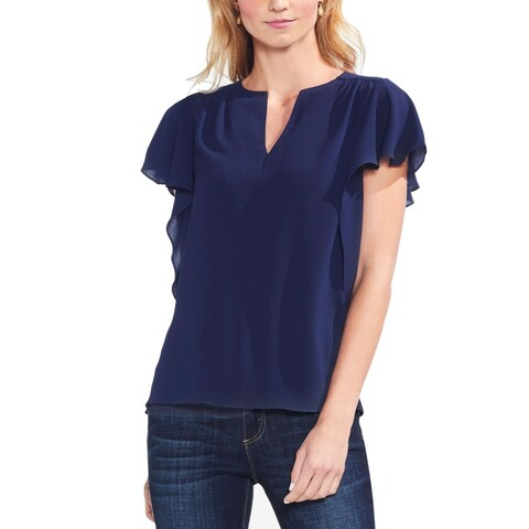 Vince Camuto Navy Blue Womens Size Small S Flutter Sleeve Blouse