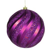 "Purple Glitter Swirl Shatterproof Christmas Ball Ornament 6"" (150mm)"