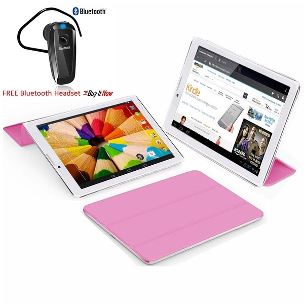 Indigi® 7.0inch Unlocked 2-in-1 Android 4.4 Smartphone + TabletPC w/ Built-in Smart Cover (Pink)+ Bluetooth Included - Pink