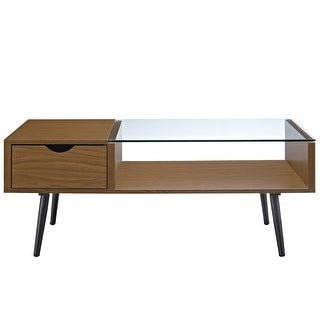 "Delacora WE-BDF42JMGL  42"" Long Glass Top Laminate, Wood and Metal Coffee Table"