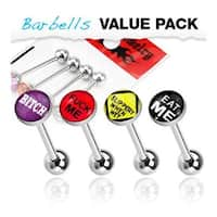 4 Pcs Pack of Assorted Word Surgical Steel Barbell with Epoxy Dome Ball - 14 GA