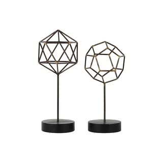 Metal Hexagonal Abstract Sculpture On Round Stand, Set of 2, Gunmetal Gray