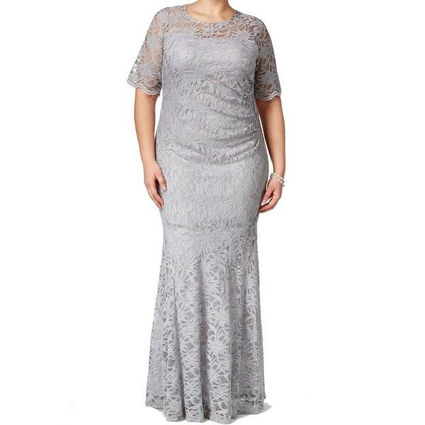 Shop Xscape New Silver Womens Size 22w Plus Glitter Mermaid Lace