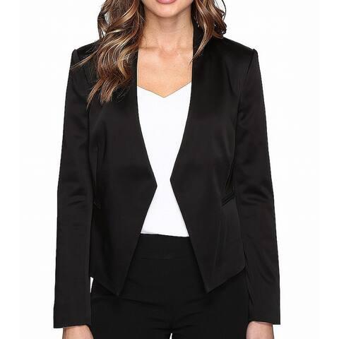 NYDJ Womens Tuxedo Jacket Solid Deep Black Size 12 Kiss Front Satin
