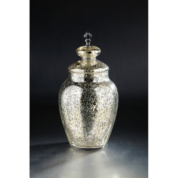"19.5"" Silver and Gold Candy Dish Clear Glass Jar with Finial Lid - N/A"