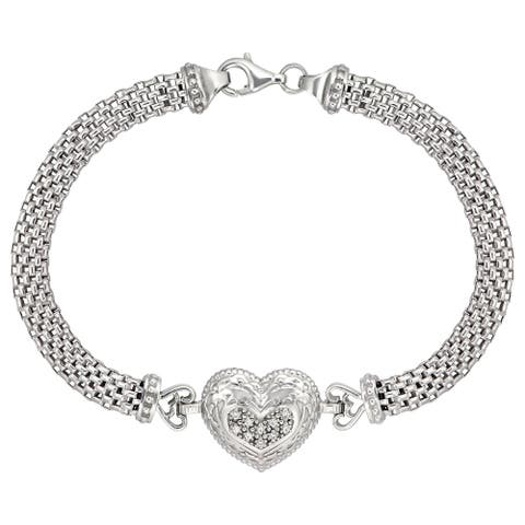 """Sterling Silver 7 3/4"""" Cubic Heart Pave On Wide Mesh Omega Chain"""