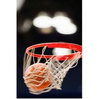 """Basketball in basket."" Poster Print"