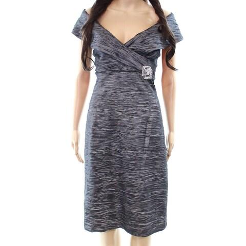 Jessica Howard Gray Womens Size 14 Crinkle Embellished Sheath Dress
