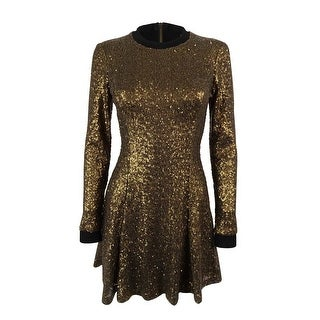 Rachel Roy Women's Long Sleeve Sequin Flare Dress - copper