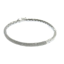 925 Sterling Silver Bangle with Cubic Zirconia and Safety Lock