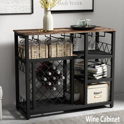 [Pre Sale]Kitchen Metal Wine Rack Table with Glass Holder,Brown