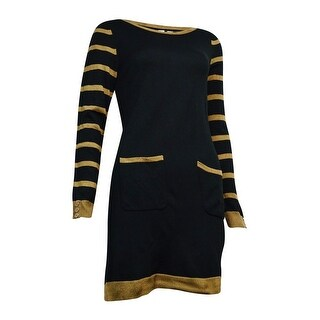 NY Collection Women's Striped Pocket Bateau Sweater Dress