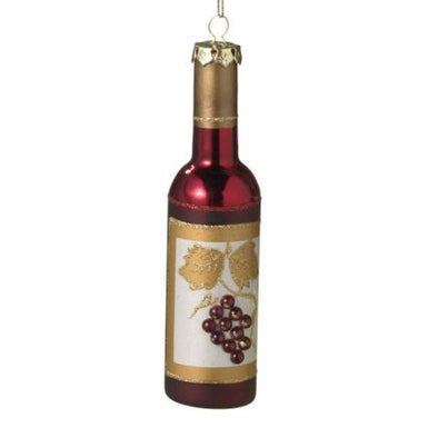 """6"""" Tuscan Winery Red Frosted Grape Wine Bottle Christmas Ornament"""