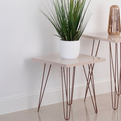 Prima 18 x 18-inch Square Wood Top End Table with Hairpin Iron Legs