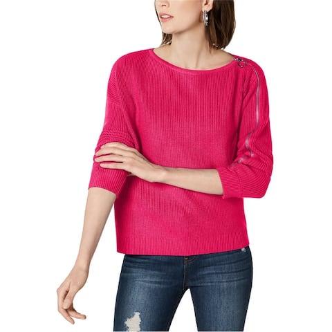 Bar Iii Womens Zipper Sleeve Pullover Sweater