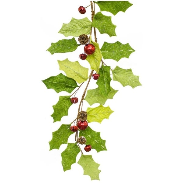 Pack of 4 Decorative Sparkling Green Holly with Red bells Garland - brown