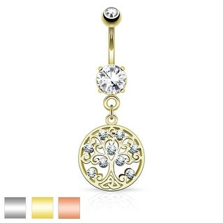CZ Tree of Life Dangle on Round CZ Prong Surgical Steel Belly Button Navel Ring - 14GA (Sold Ind.)